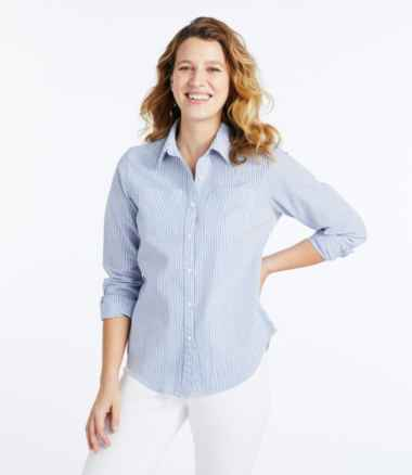 Women's Vacationland Seersucker Shirt, Long-Sleeve