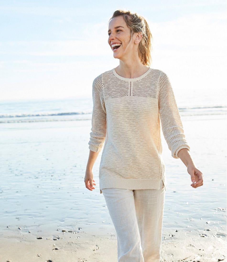Pointelle Mixed-Stitch Sweater, Tunic