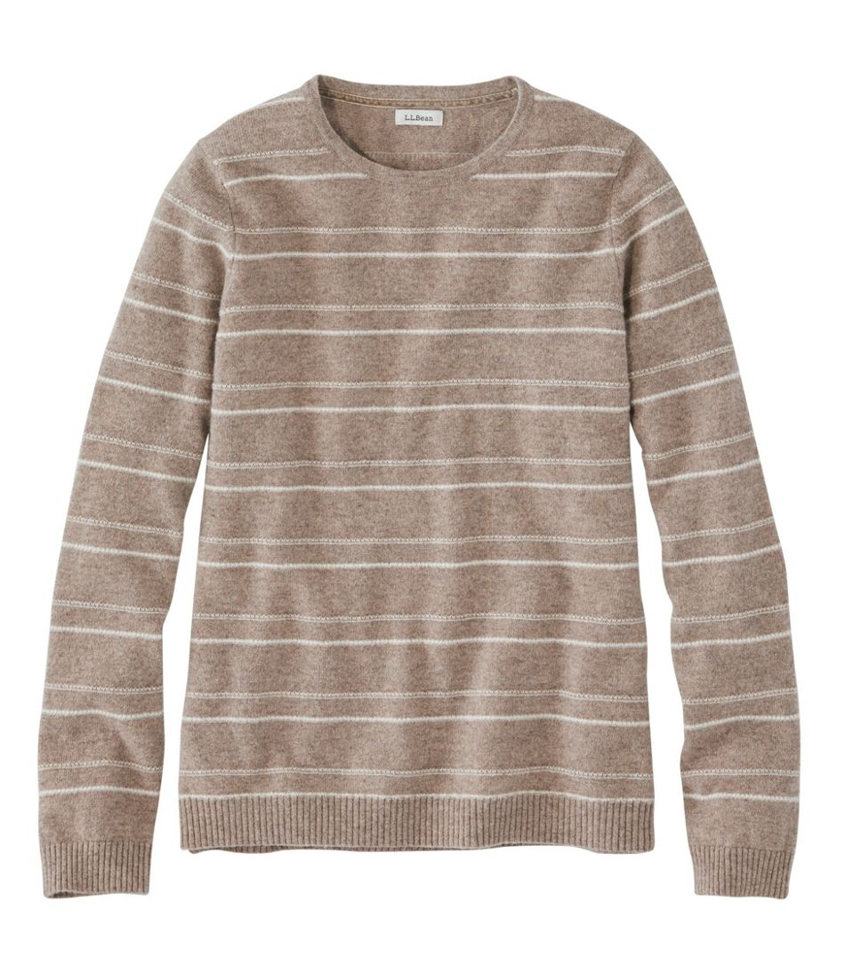 Classic Cashmere Sweater, Crewneck Textured Stripe
