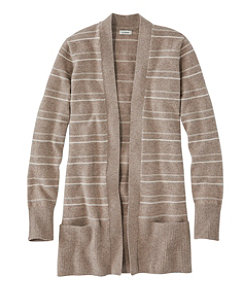 Classic Cashmere Open Cardigan with Pocket, Textured Stripe