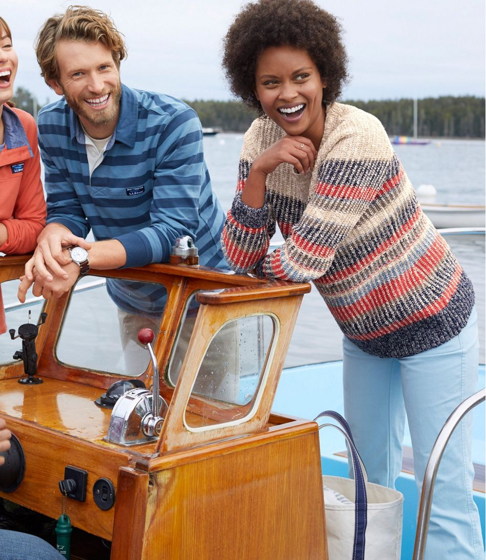 Cotton Ragg Sweater, Marled Crewneck Pullover, Multi Stripe
