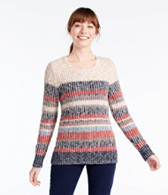 Cotton Ragg Sweater, Marled Crewneck Pullover, Multi Stripe