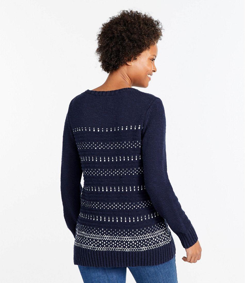 Cotton Ragg Sweater, Marled Crewneck Pullover, Birdseye