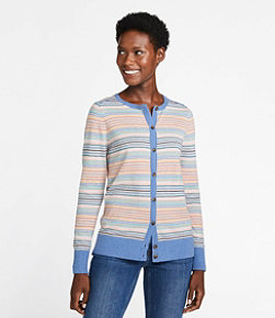 Cotton/Cashmere Cardigan, Button-Front Stripe