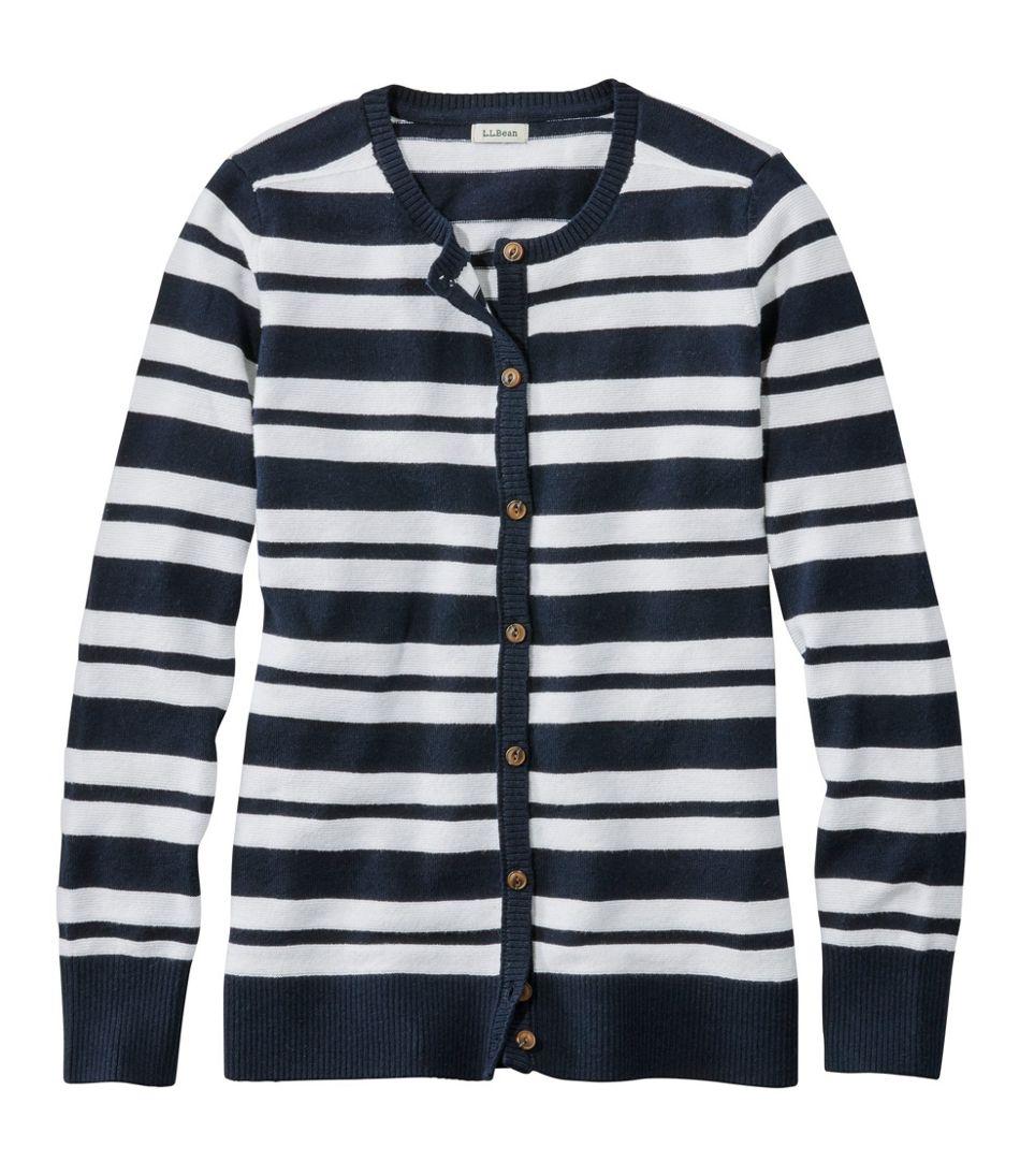 Cotton/Cashmere Cardigan, Button-Front Stripe