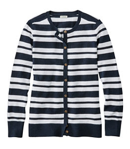 Women's Cotton/Cashmere Cardigan, Button-Front Stripe