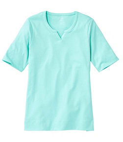Women's Pima Cotton Tee, Notch-Neck Elbow-Sleeve Tunic