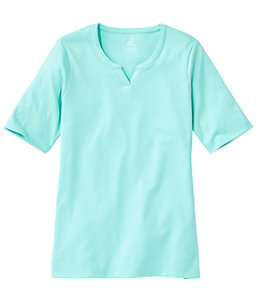 Women's Pima Cotton Tee, Notch-Neck Elbow-Sleeve Tunic