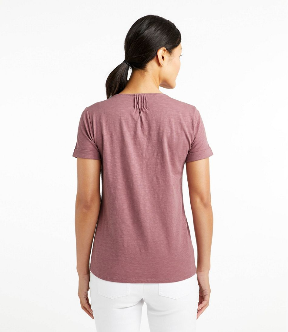 Women's Organic Cotton Tee, Splitneck Short-Sleeve