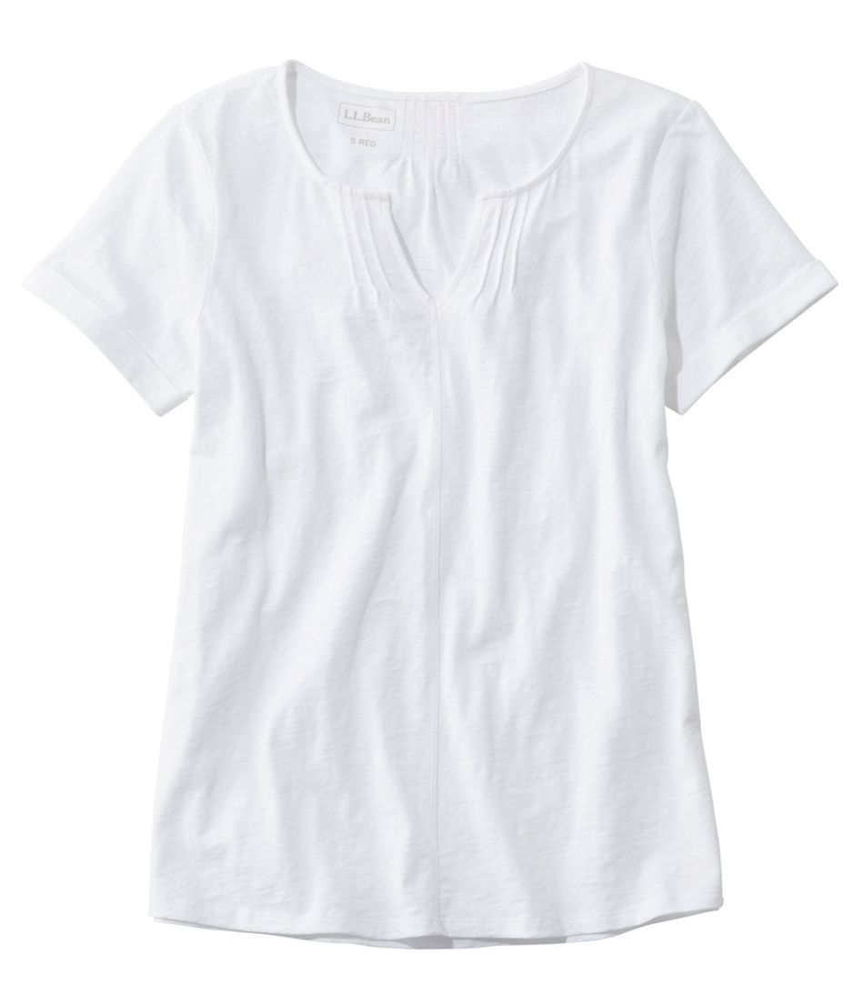 Organic Cotton Tee, Splitneck Short-Sleeve