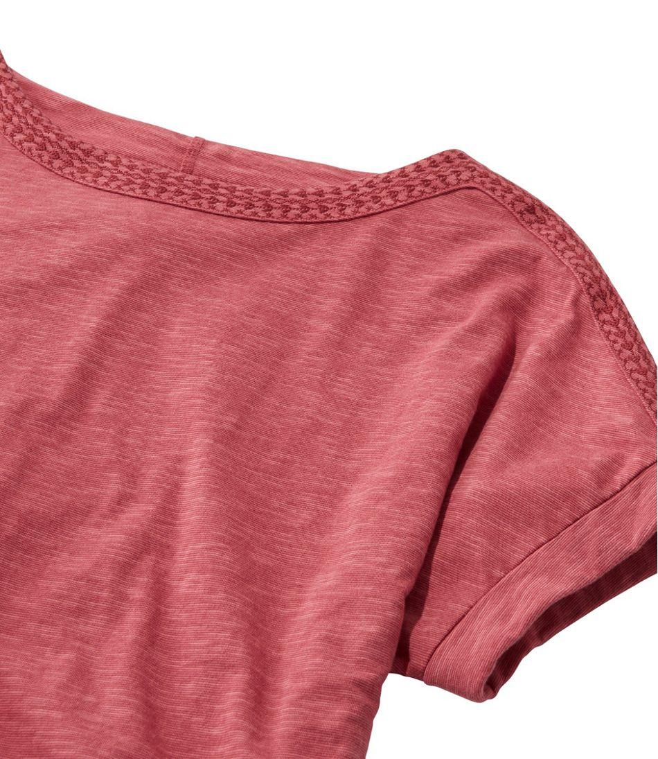Cotton/Tencel Slub Tee, Short-Sleeve Boatneck