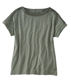 Women's Cotton/Tencel Slub Tee, Short-Sleeve Boatneck