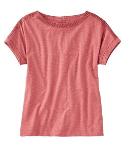 Cotton/Tencel Slub Tee, Short-Sleeve Boatneck