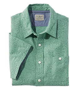 Men's Lakewashed Organic Cotton Camp Shirt, Short-Sleeve, Print