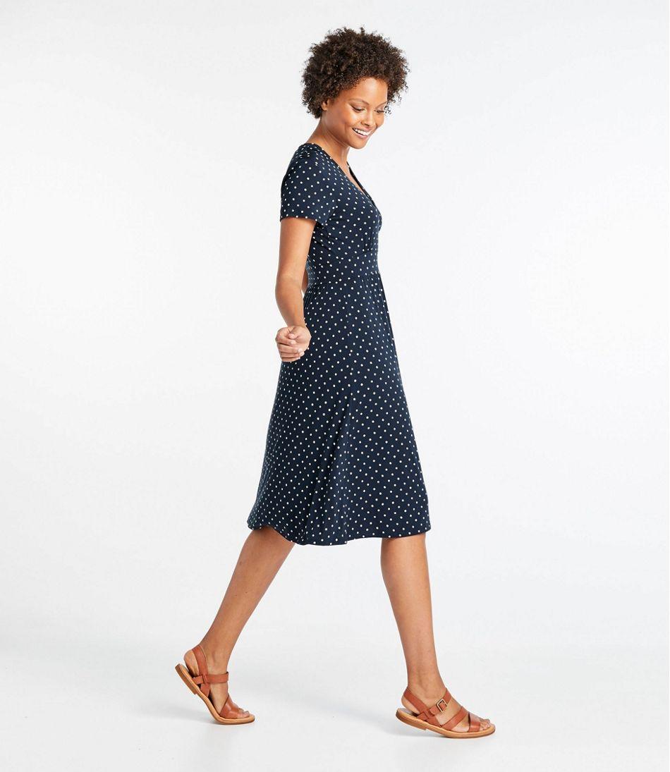 Women's Summer Knit Dress, Short-Sleeve Print