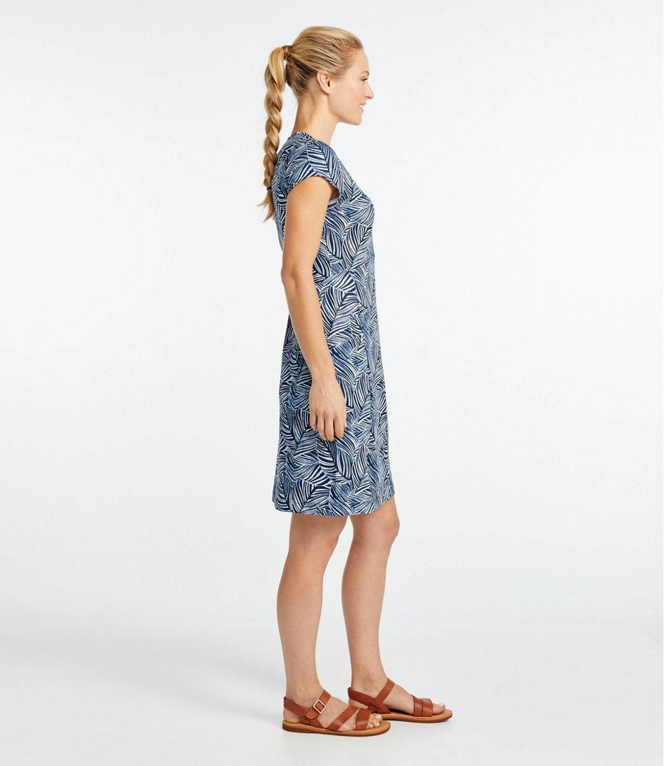 Women's Short-Sleeve Fitness Dress, Leaf Print