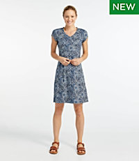Women's Short-Sleeve Fitness Dress, Leaf Print