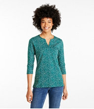 Women's L.L.Bean Tee, Three-Quarter-Sleeve Splitneck Tunic Print