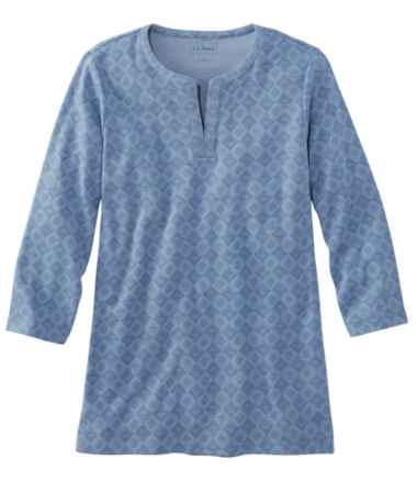 L.L.Bean Tee, Three-Quarter-Sleeve Splitneck Tunic Print