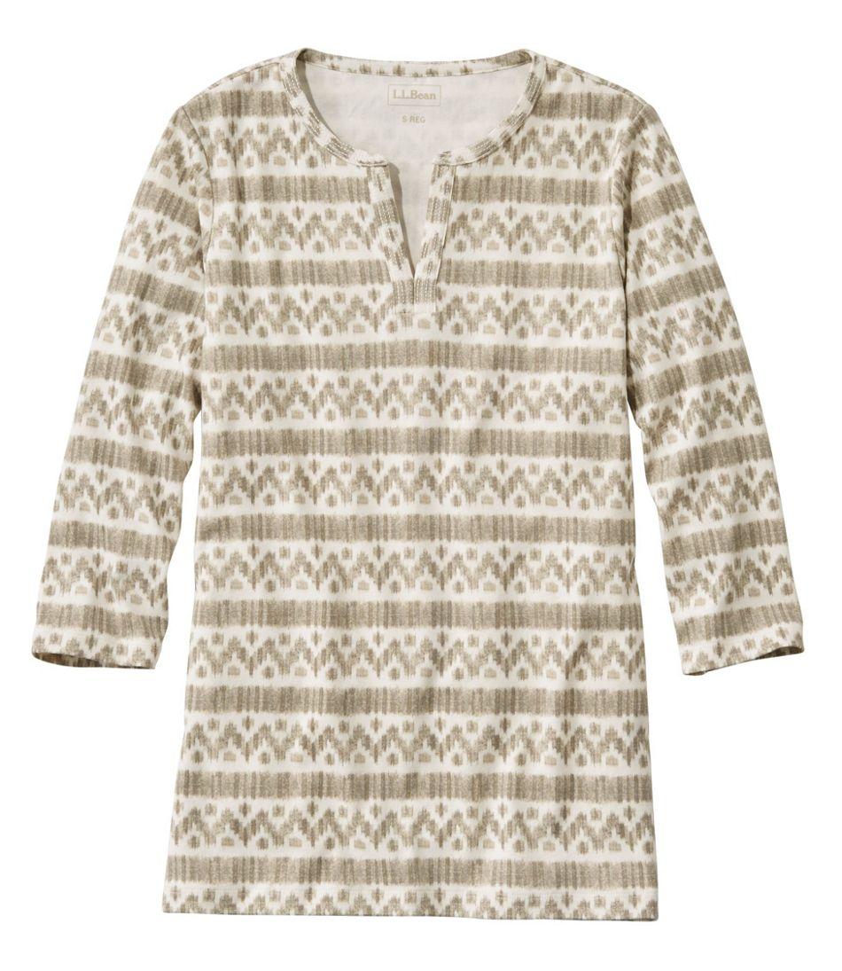 L.L.Bean Tee, Three-Quarter-Sleeve Splitneck Tunic Print
