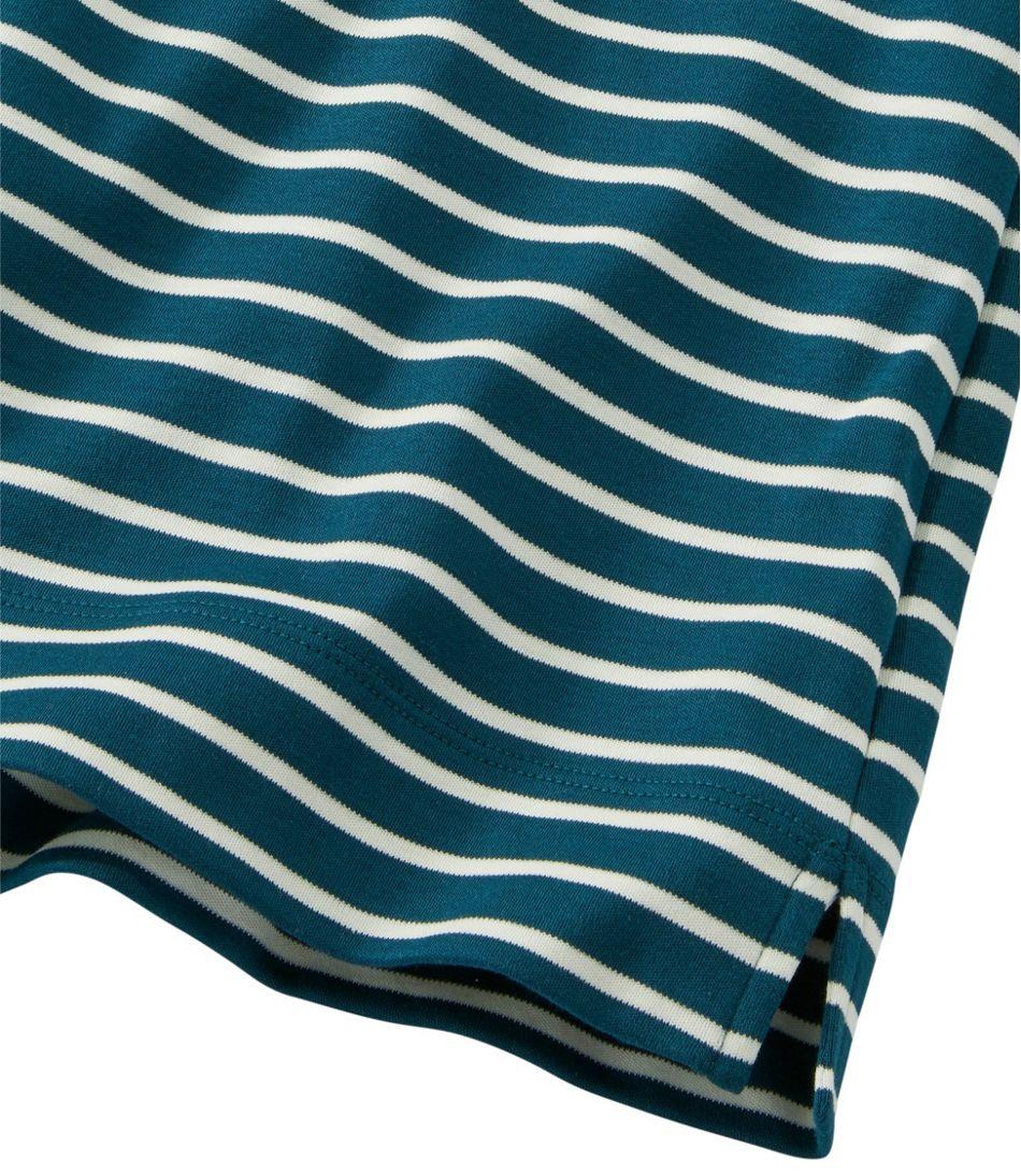 Pima Cotton Tunic, Three-Quarter-Sleeve Splitneck Stripe