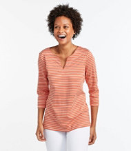 Pima Cotton Tunic, Three-Quarter-Sleeve Splitneck Stripe
