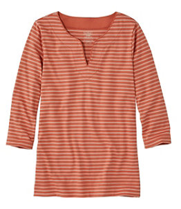 Women's Pima Cotton Tunic, Three-Quarter-Sleeve Splitneck Stripe