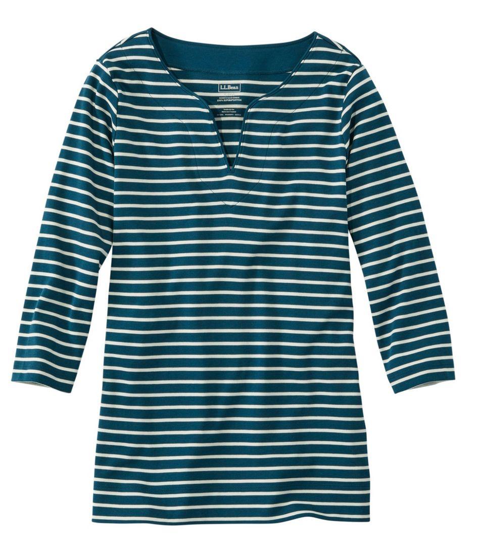 Women's Pima Cotton Tunic, Three-Quarter-Sleeve Splitneck Stripe