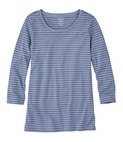 Pima Cotton Shaped Tee, Three-Quarter-Sleeve Jewelneck Stripe