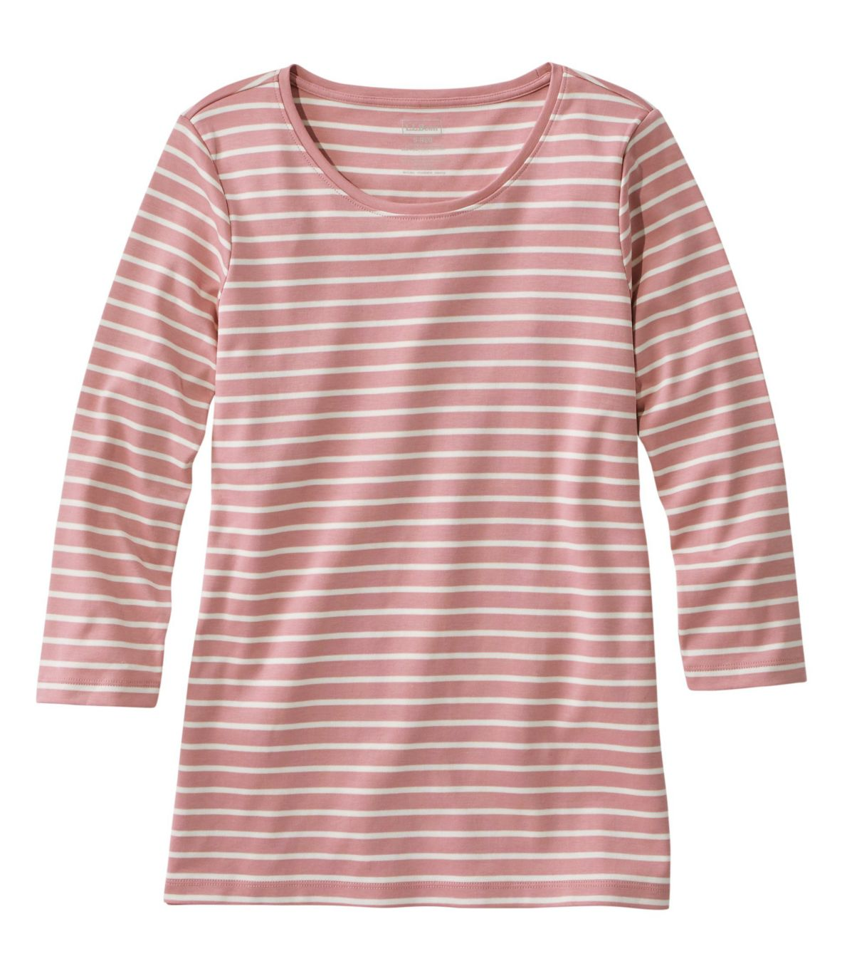 Women's Pima Cotton Shaped Tee, Three-Quarter-Sleeve Jewelneck Stripe