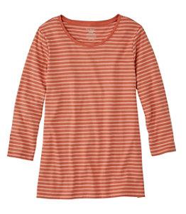 Women's Pima Cotton Shaped Tee, Three-Quarter-Sleeve Jewelneck Stripe
