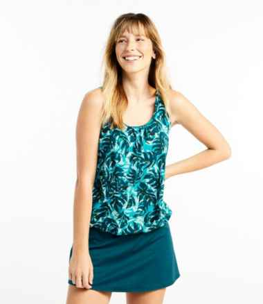 Slimming Swimwear, Blouson Tankini Top Print