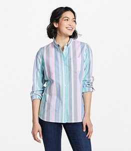 Women's Lakewashed Organic Cotton Oxford Shirt, Stripe