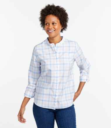 Women's Lakewashed® Organic Cotton Oxford Shirt, Roll Tab Plaid