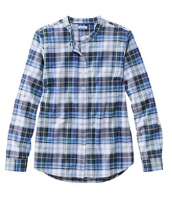 Women's Lakewashed Organic Cotton Oxford Shirt, Roll Tab Plaid