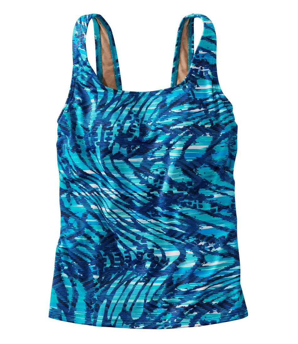 Women's BeanSport® Swimwear, Tankini Top Scoopneck Wave Print