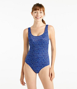 BeanSport® Swimwear, Tank with Soft Cups Geo Leaf Print