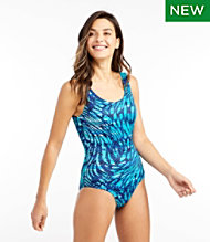 BeanSport® Swimwear, Tank with Soft Cups, Wave Print