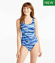 b47dec31b9855 BeanSport® Swimwear, Tank with Soft Cups, Painted Wave Print