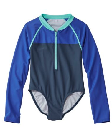 Girls' Watersports Swimsuit, One-piece, Long Sleeve, Color Block