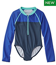 Girls' Watersports Swimsuit, One-piece, Long Sleeve, Colorblock