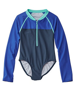 Girls' Watersports Swimsuit One-piece Long Sleeve, Colorblock