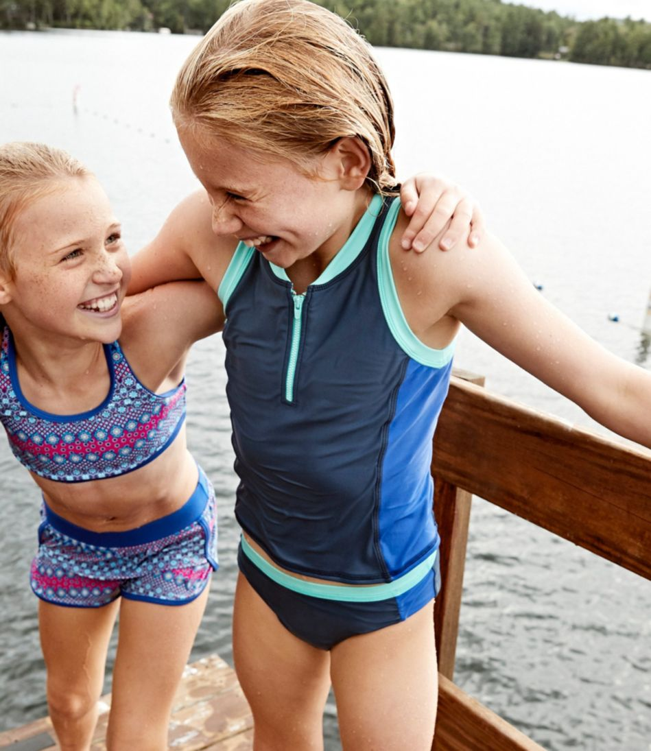 Girls' Watersports Swimsuit, Two-Piece, Colorblock