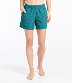 Women's L.L.Bean Stretch Board Shorts, Pull-on Print 5""