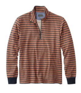 Signature French Terry Pullover, Quarter-Zip, Long Sleeve, Stripe, Slim Fit
