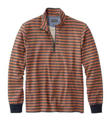 Men's Signature French Terry Pullover, Quarter-Zip, Long Sleeve, Stripe, Slim Fit