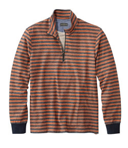 Men's Signature French Terry Pullover Quarter-Zip Long Sleeve Stripe Slim Fit