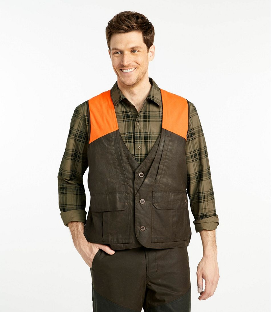 Men's Double L Waxed-Cotton Upland Vest, Hunter Orange
