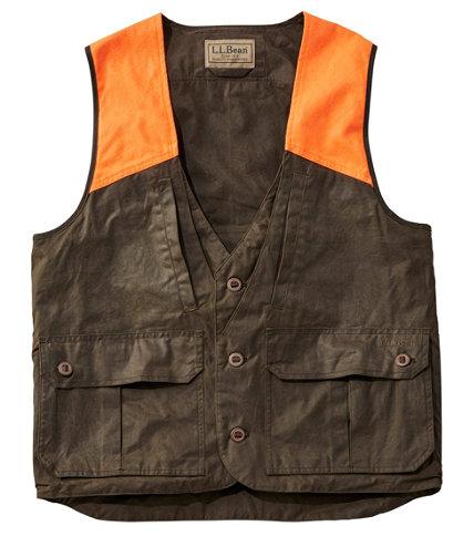 Men S Double L Waxed Cotton Upland Vest Hunter Orange