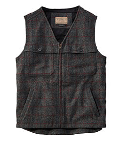 Maine Guide Zip-Front Wool Vest, Plaid